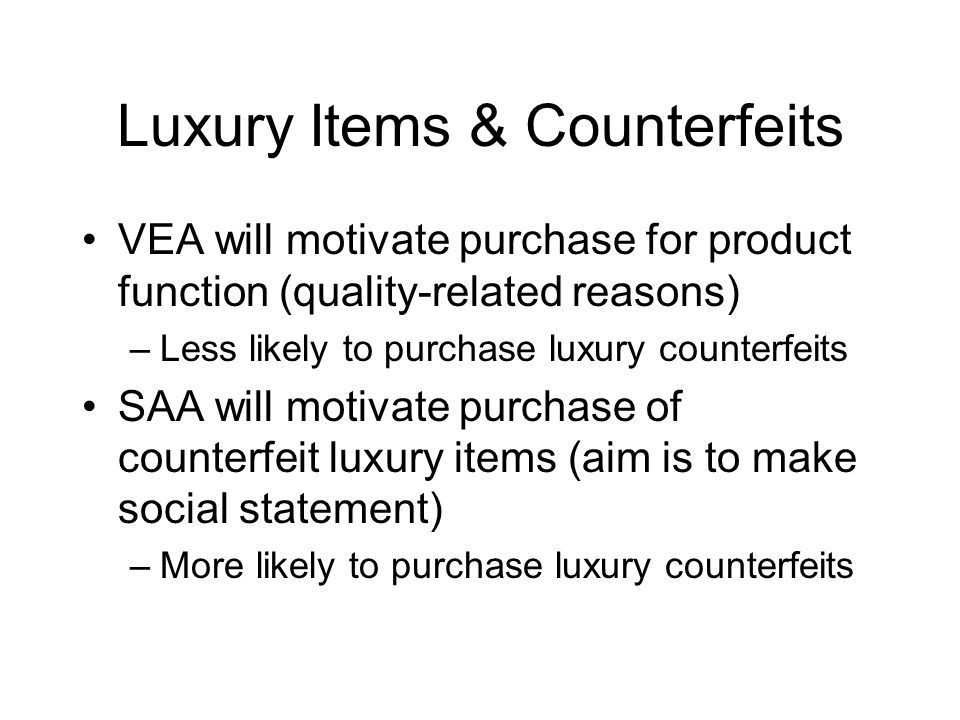 Luxury Items & Counterfeits