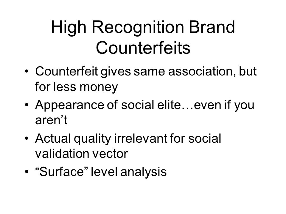 High Recognition Brand Counterfeits