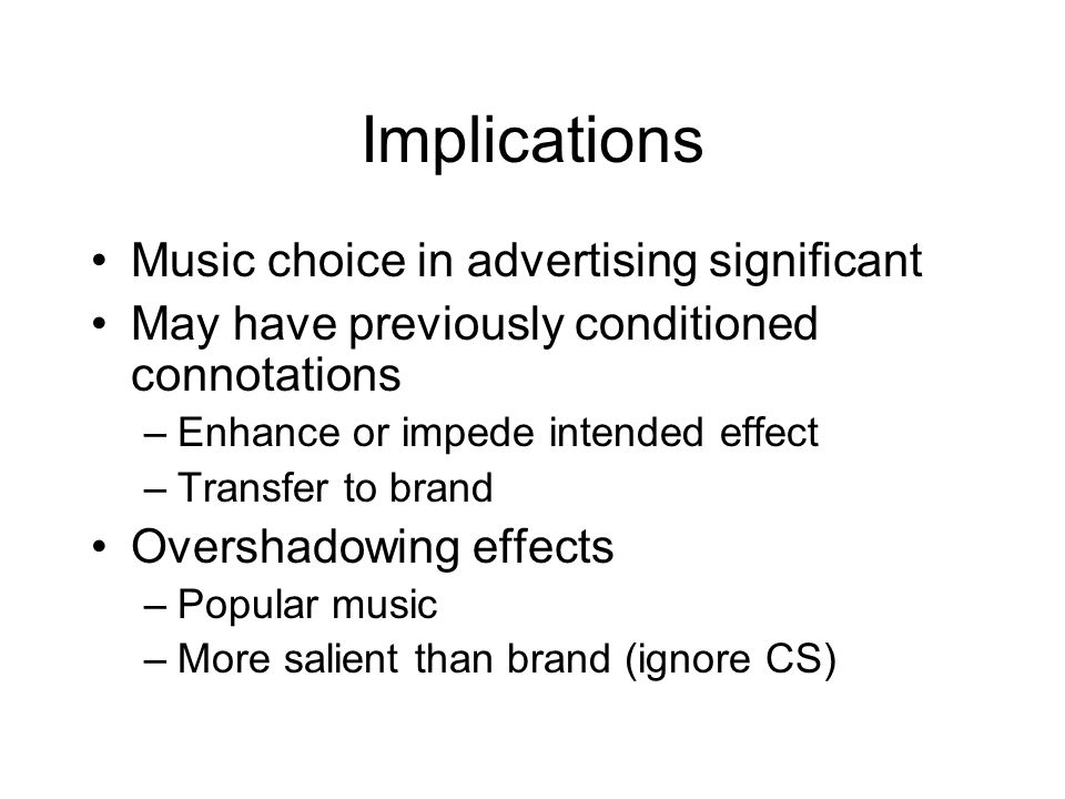 Implications Music choice in advertising significant
