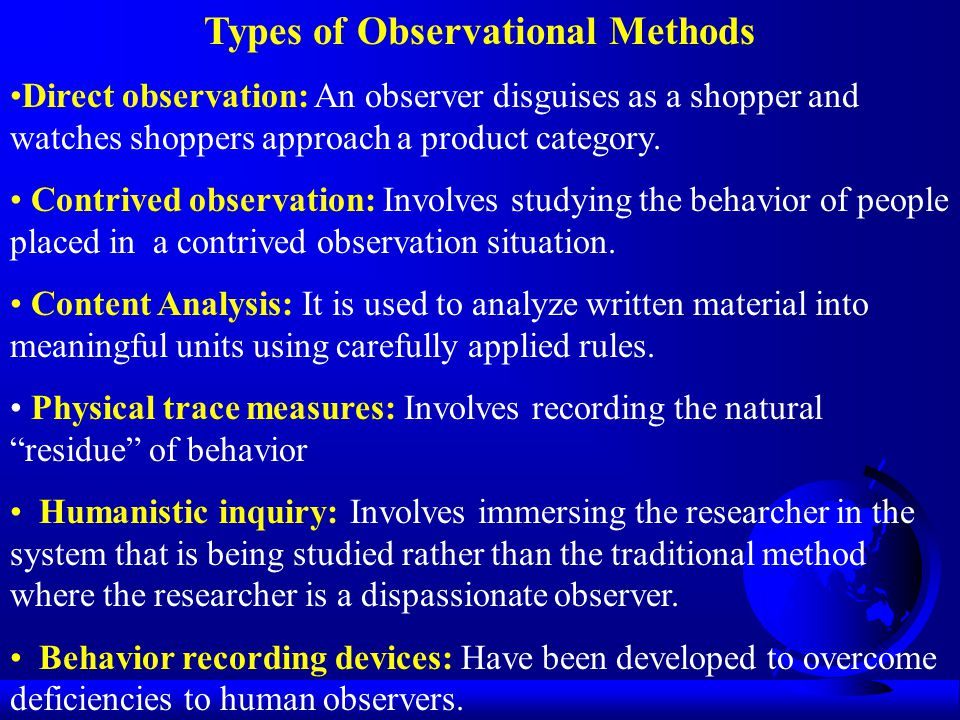 Types of Observational Methods