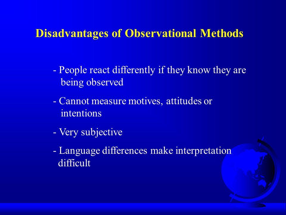 Disadvantages of Observational Methods