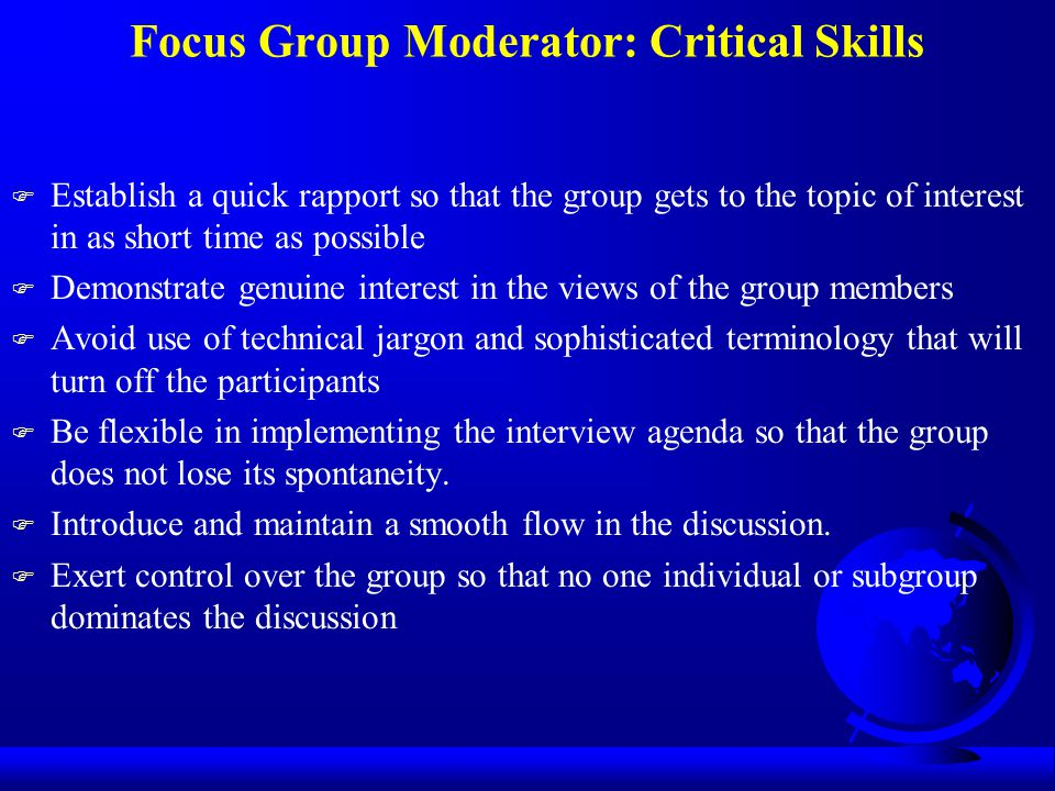 Focus Group Moderator: Critical Skills