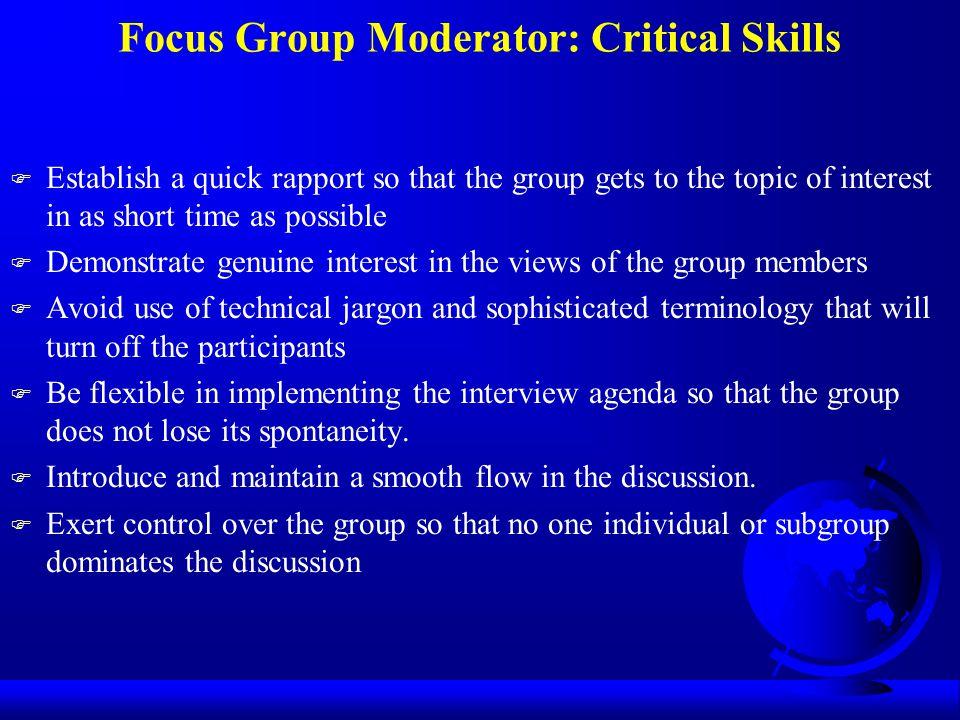 Focus Group Moderator: Critical Skills