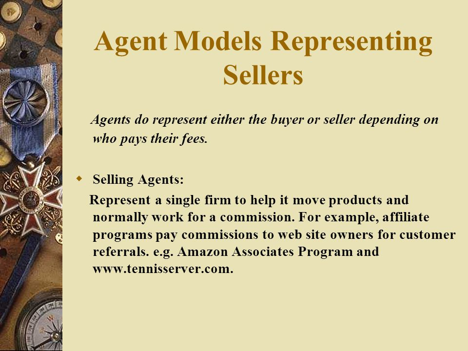 Agent Models Representing Sellers