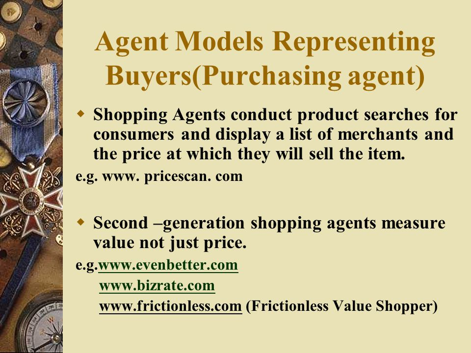Agent Models Representing Buyers(Purchasing agent)