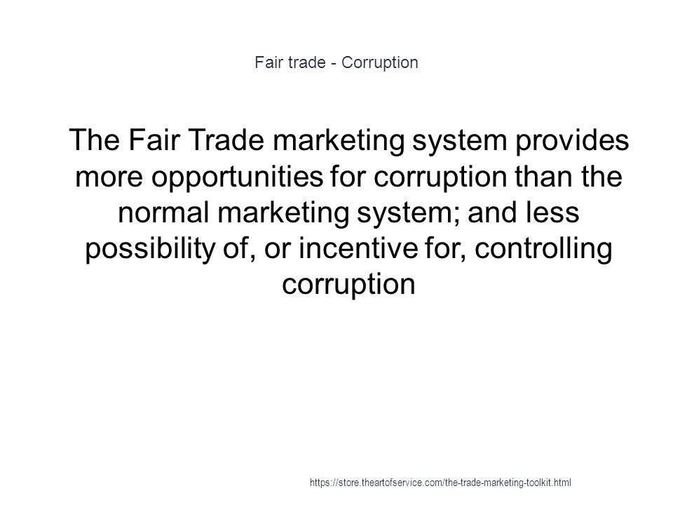Fair trade - Corruption