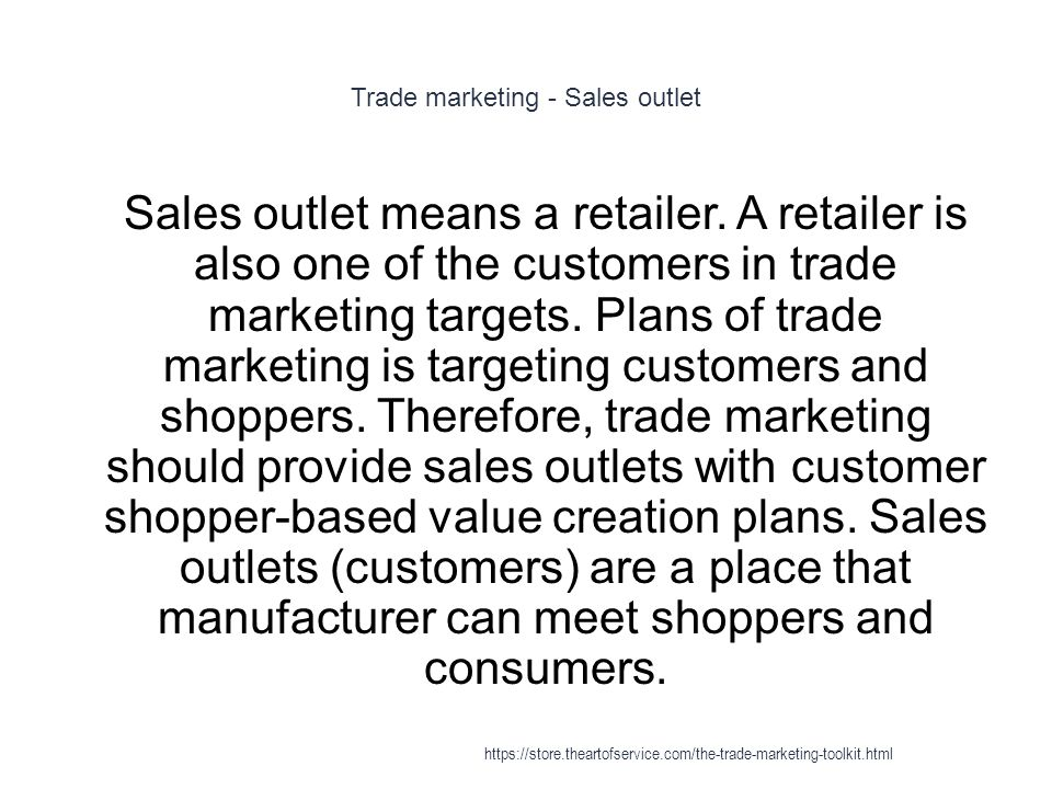 Trade marketing - Sales outlet