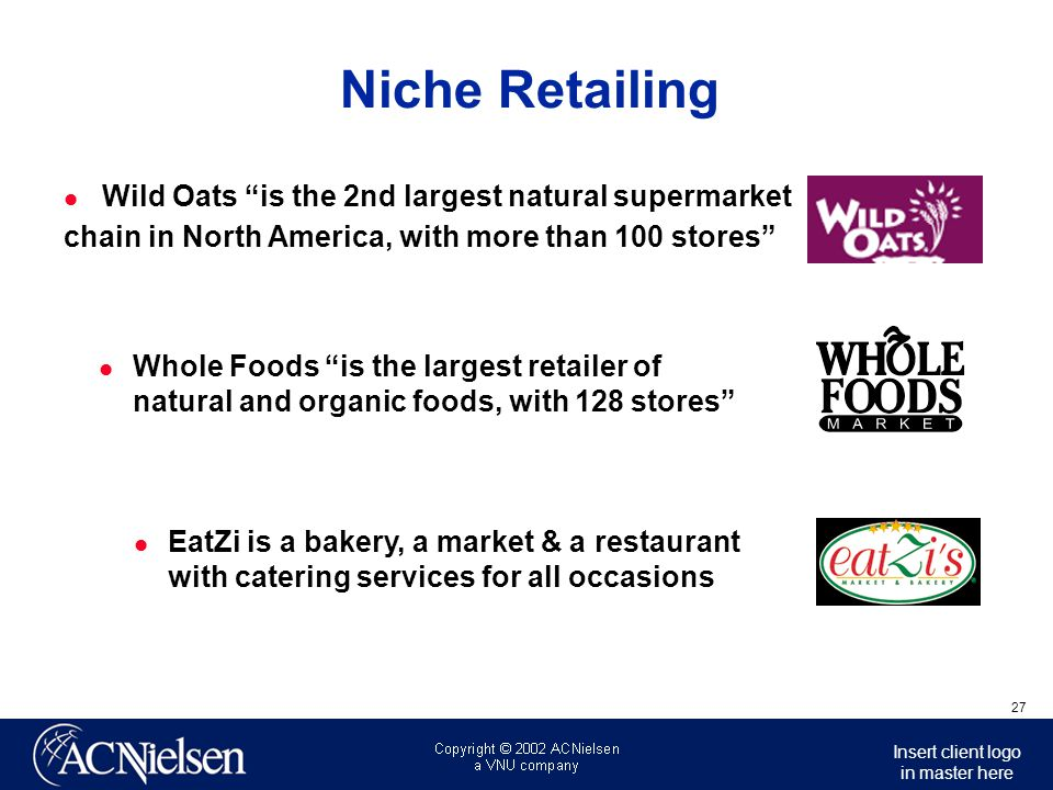 Niche Retailing Wild Oats is the 2nd largest natural supermarket