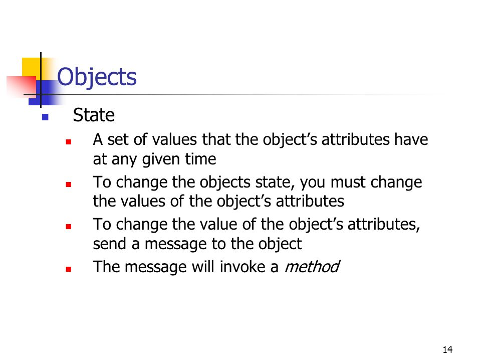 Objects State. A set of values that the object's attributes have at any given time.