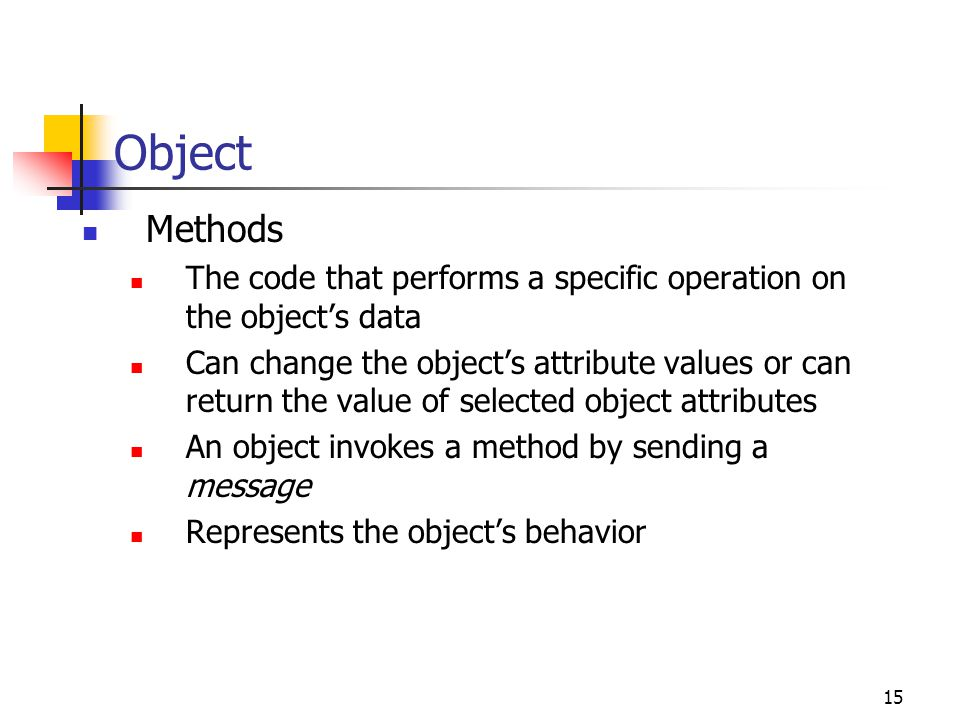 Object Methods. The code that performs a specific operation on the object's data.