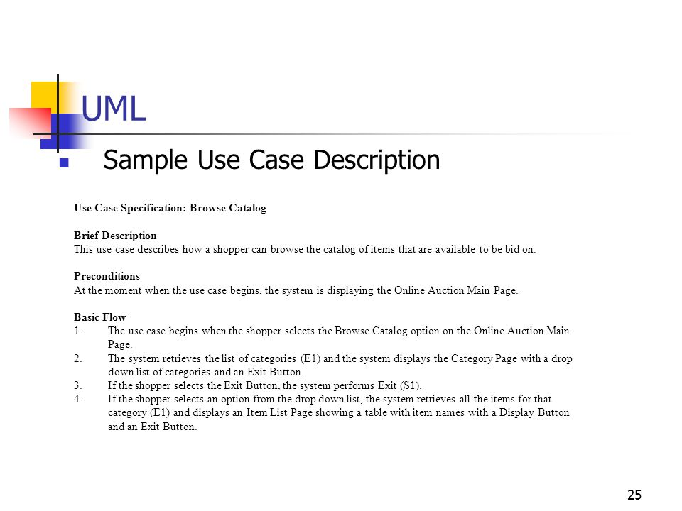 UML Sample Use Case Description Use Case Specification: Browse Catalog