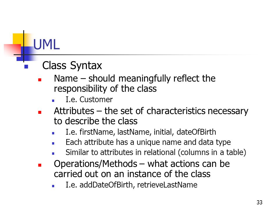 UML Class Syntax. Name – should meaningfully reflect the responsibility of the class. I.e. Customer.