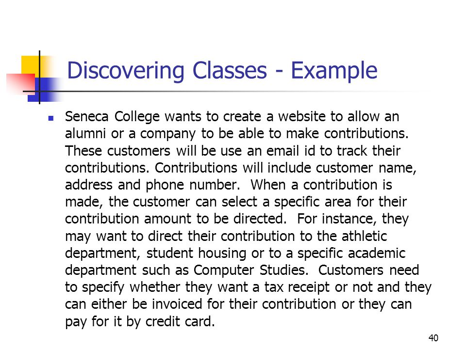 Discovering Classes - Example