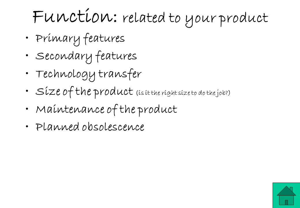 Function: related to your product