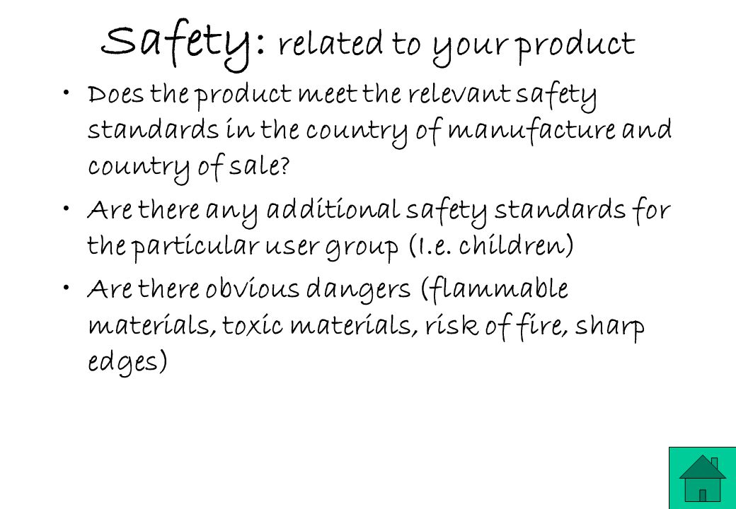 Safety: related to your product