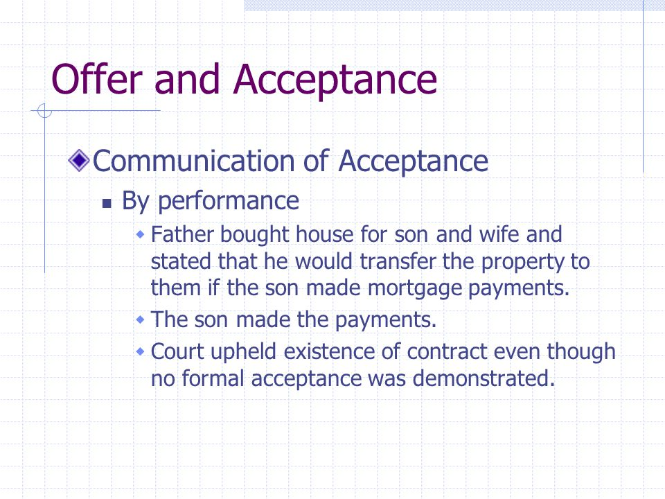 Offer and Acceptance Communication of Acceptance By performance