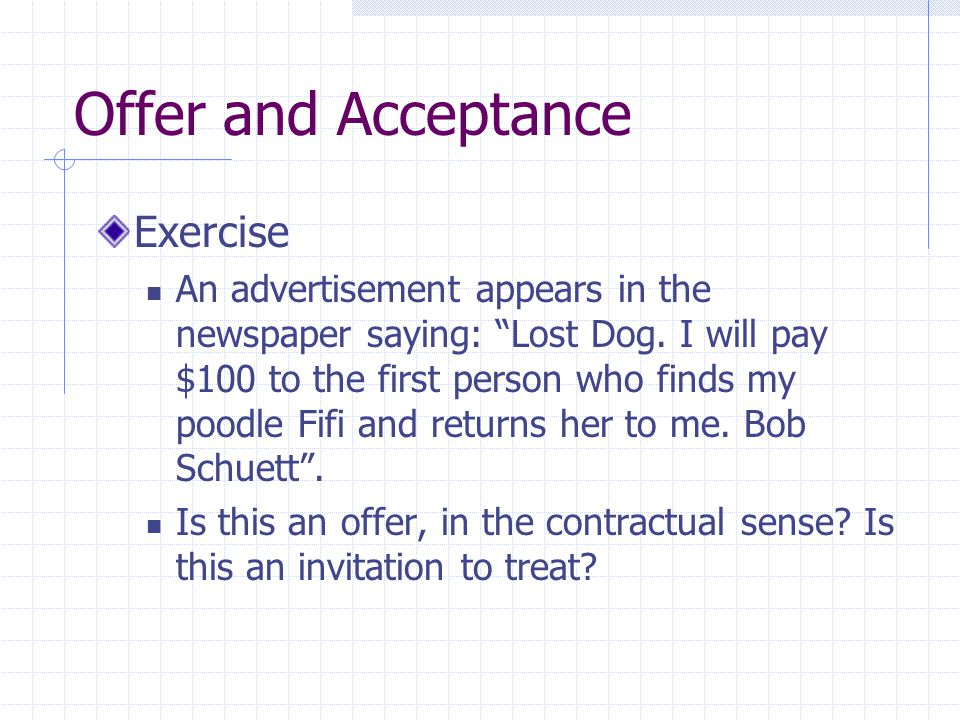 Offer and Acceptance Exercise