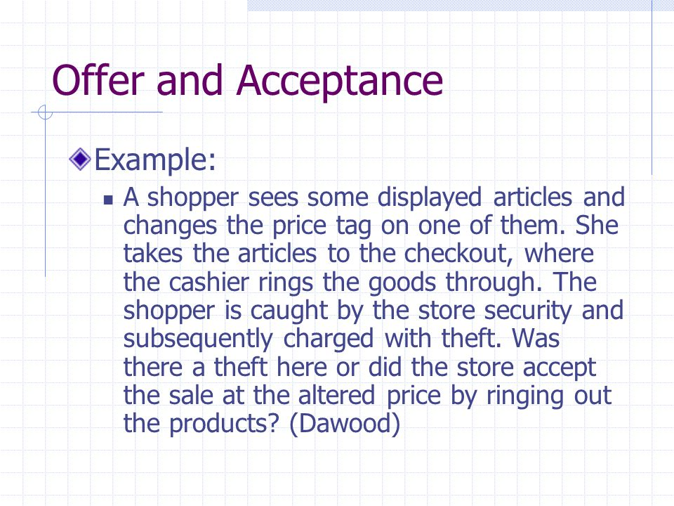 Offer and Acceptance Example: