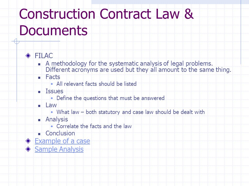 Construction Contract Law & Documents
