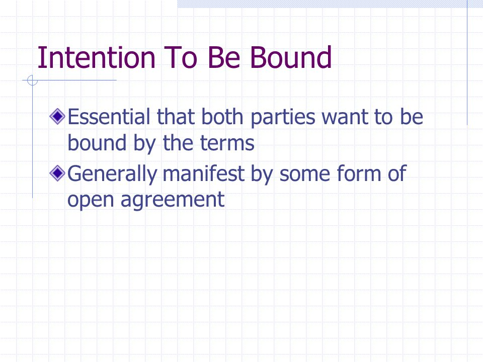 Intention To Be Bound Essential that both parties want to be bound by the terms.