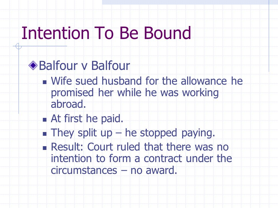 Intention To Be Bound Balfour v Balfour