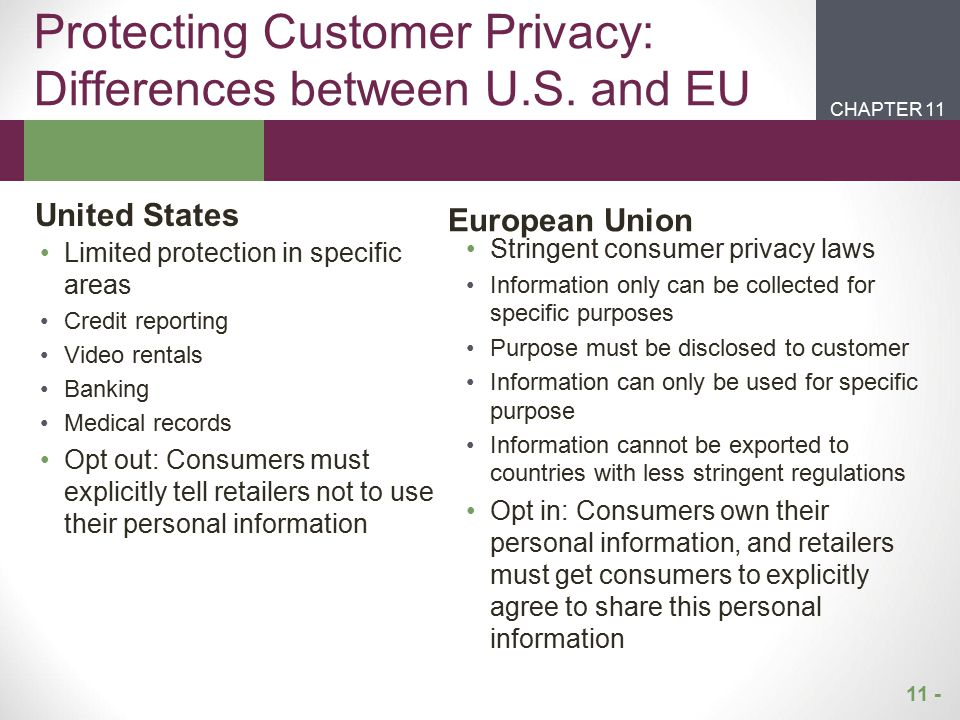 Protecting Customer Privacy: Differences between U.S. and EU