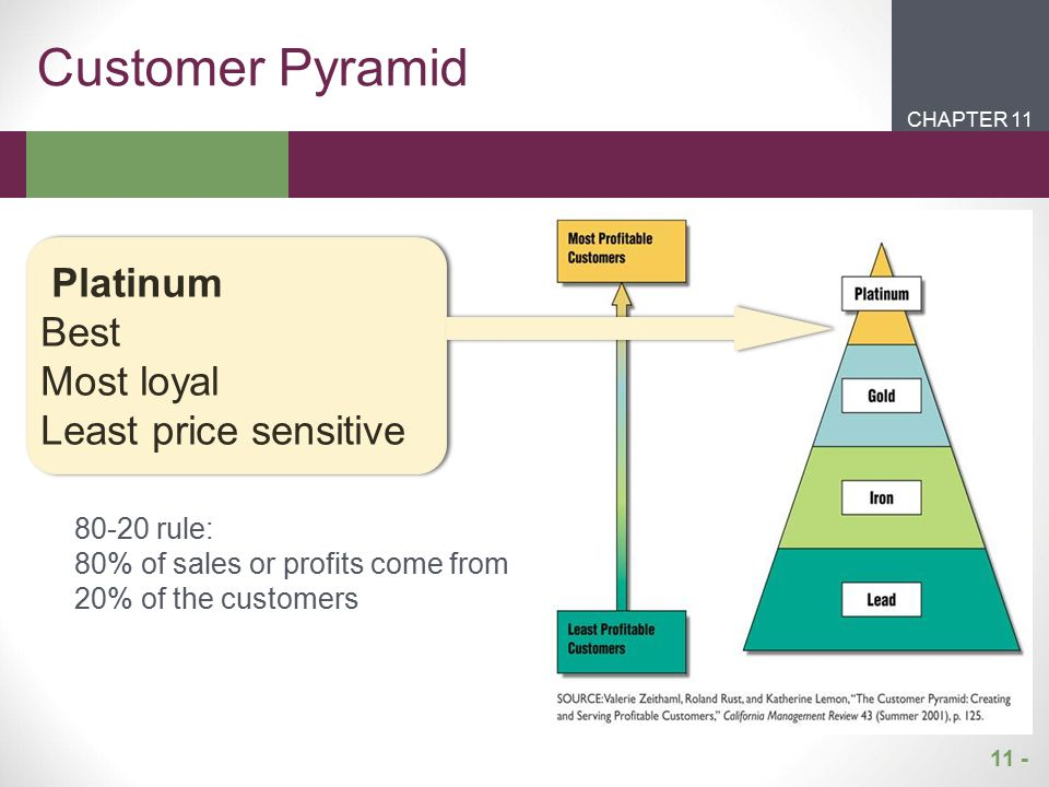 Customer Pyramid Platinum Best Most loyal Least price sensitive