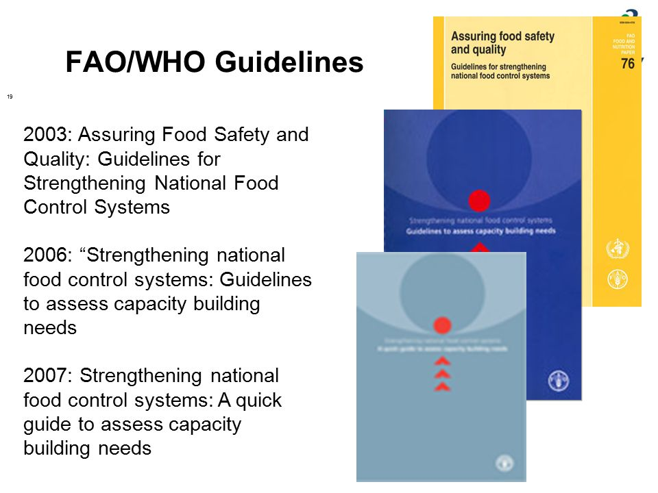 FAO/WHO Guidelines 2003: Assuring Food Safety and Quality: Guidelines for Strengthening National Food Control Systems.
