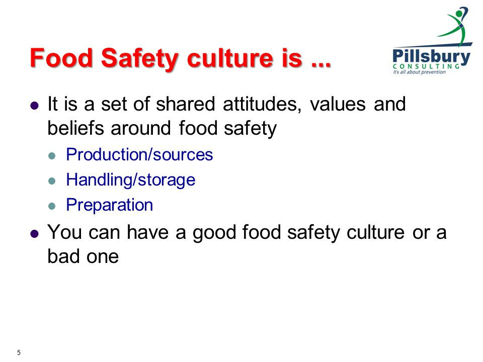 Food Safety culture is ... It is a set of shared attitudes, values and beliefs around food safety. Production/sources.