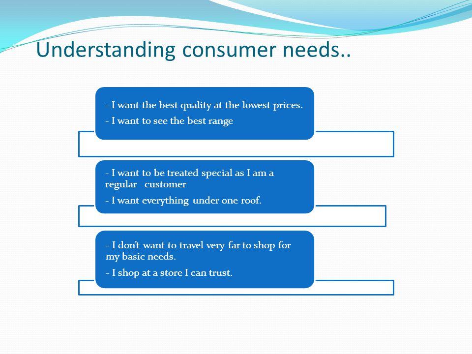 Understanding consumer needs..