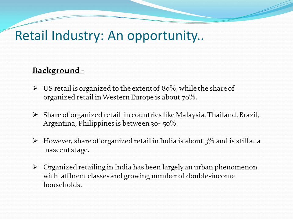 Retail Industry: An opportunity..
