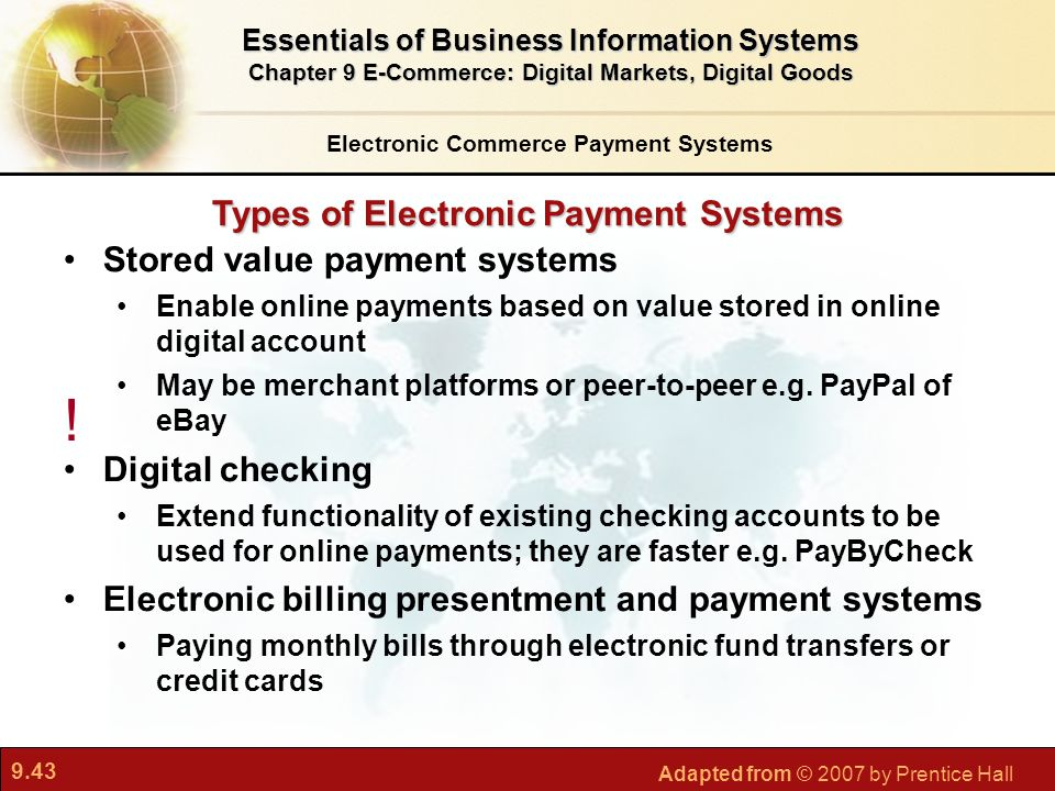 ! Types of Electronic Payment Systems Stored value payment systems