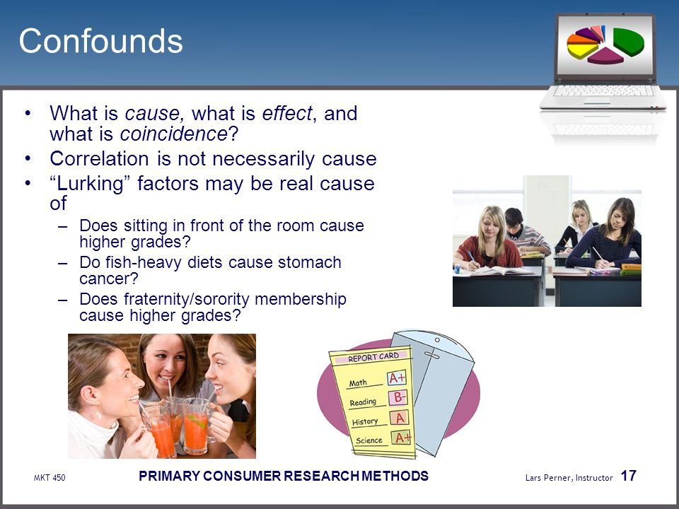 Confounds What is cause, what is effect, and what is coincidence
