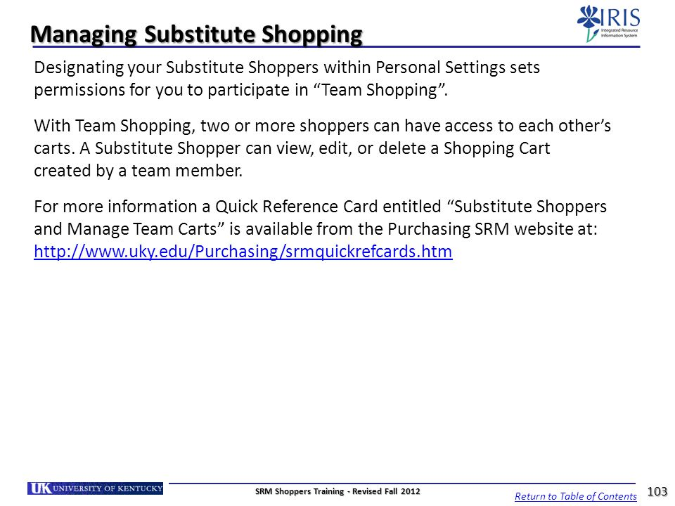 Managing Substitute Shopping
