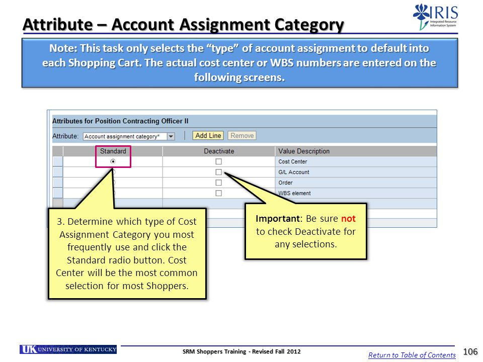 Attribute – Account Assignment Category