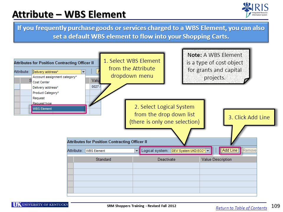 Attribute – WBS Element