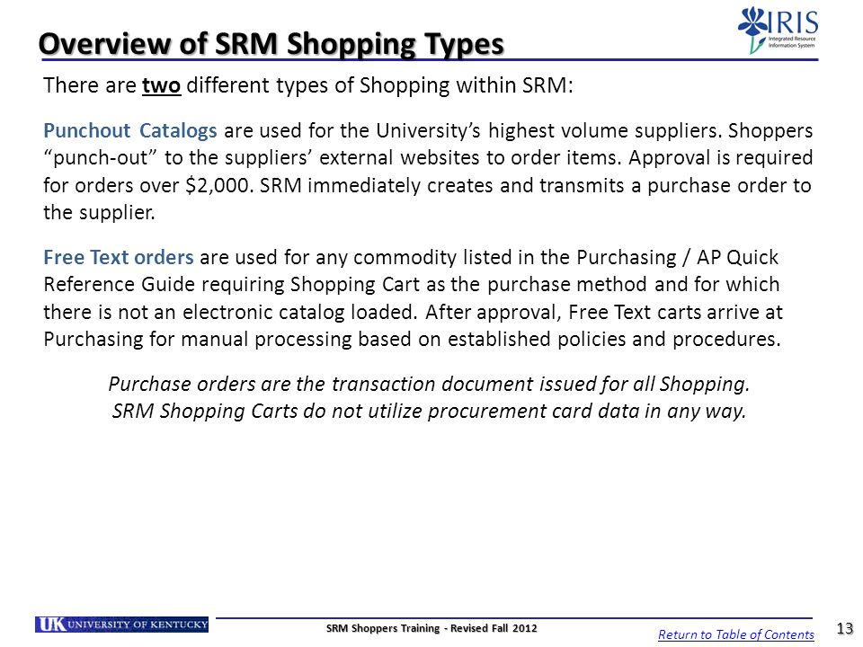 Overview of SRM Shopping Types