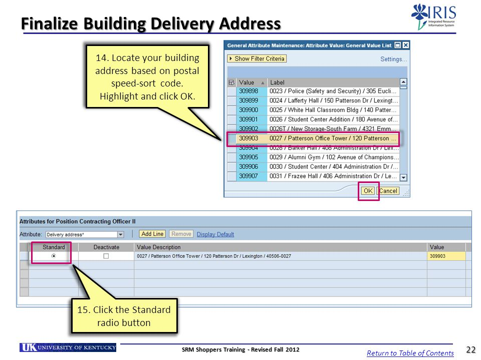 Finalize Building Delivery Address