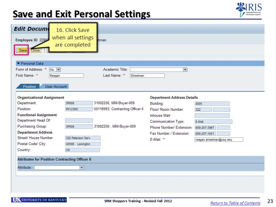 Save and Exit Personal Settings