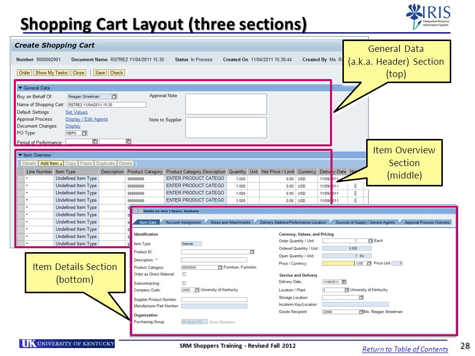 Shopping Cart Layout (three sections)