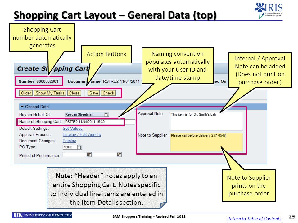 Shopping Cart Layout – General Data (top)