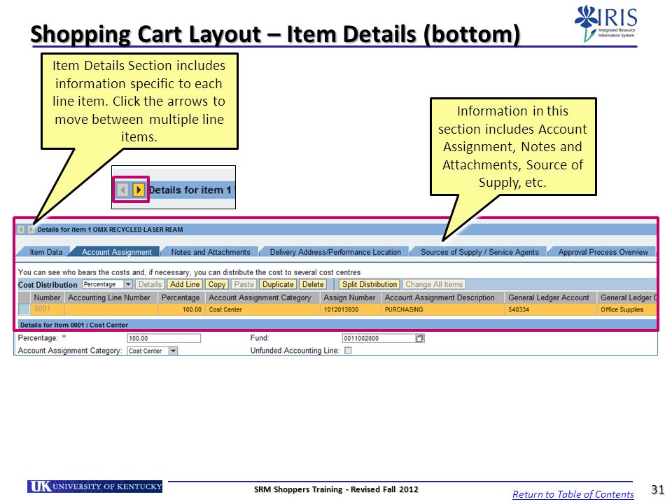 Shopping Cart Layout – Item Details (bottom)