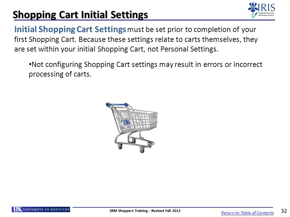 Shopping Cart Initial Settings