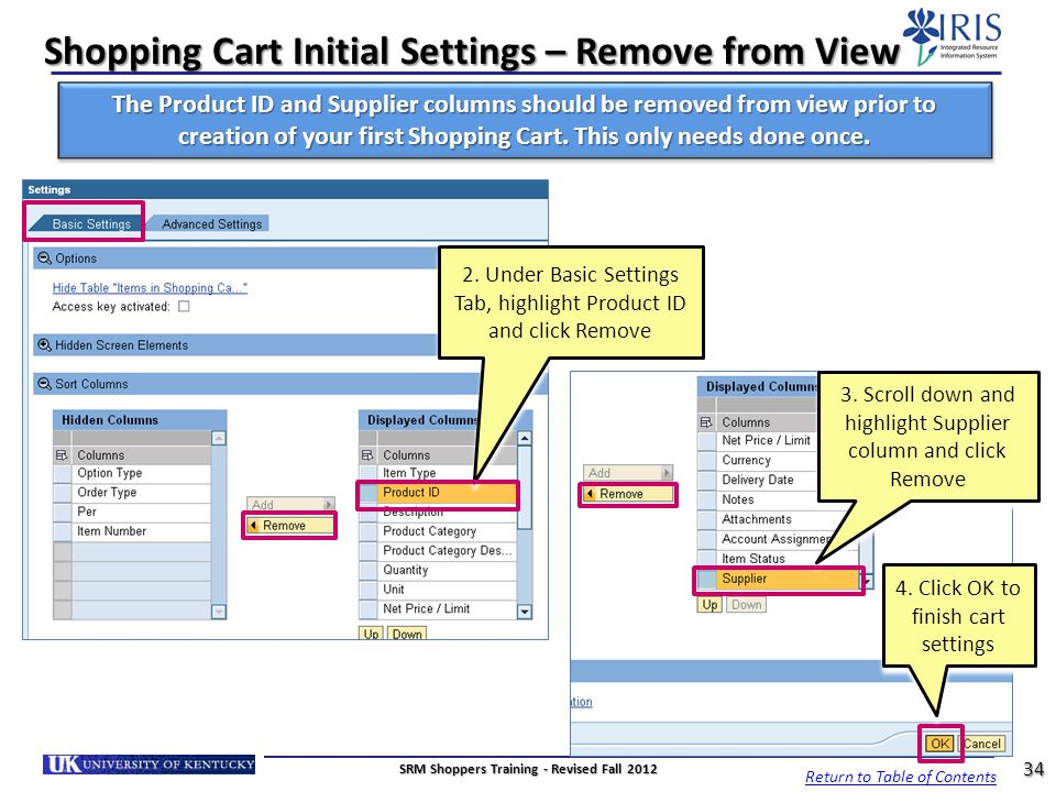 Shopping Cart Initial Settings – Remove from View