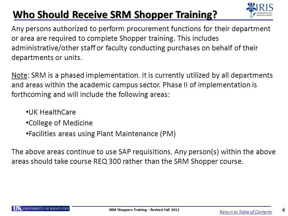 Who Should Receive SRM Shopper Training