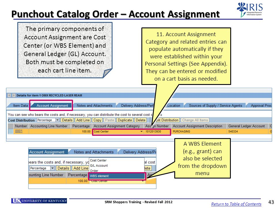 Punchout Catalog Order – Account Assignment