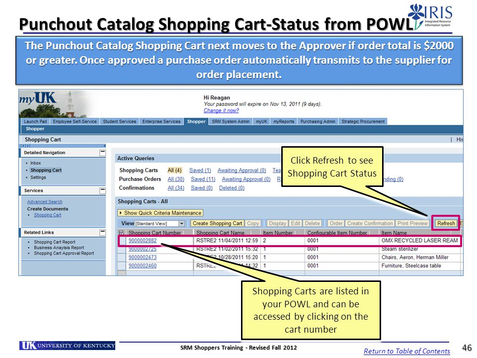 Punchout Catalog Shopping Cart-Status from POWL
