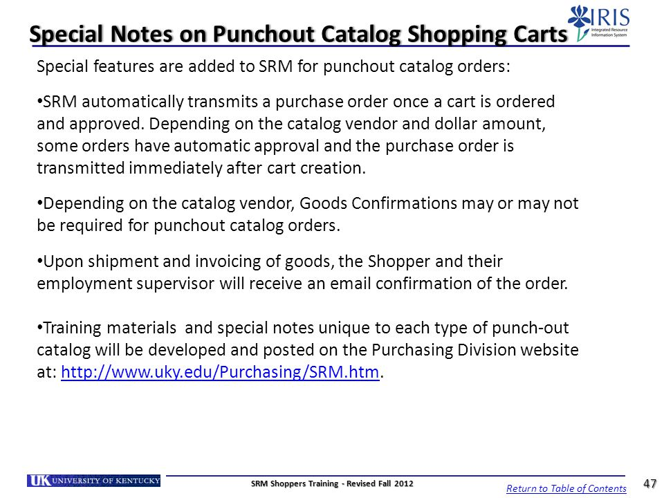 Special Notes on Punchout Catalog Shopping Carts