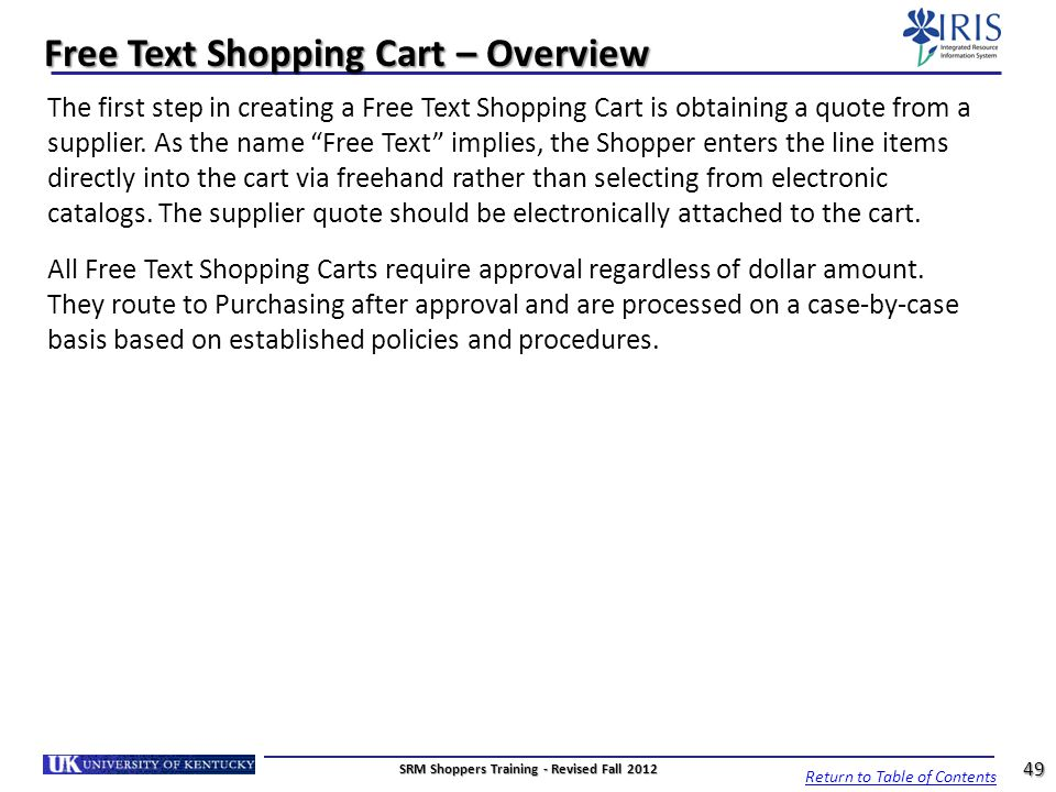 Free Text Shopping Cart – Overview