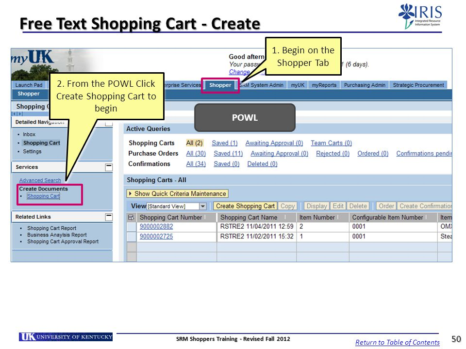 Free Text Shopping Cart - Create